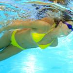 Licensed Bravo Bra Pads blog image of swim shapers girl in yellow bikini underwater