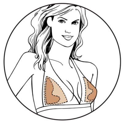 Illustration of woman wearing Bravo nude Ultra Shaper inserts