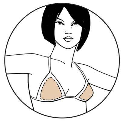 Illustration of Bravo Bra Pads (Style 9300) Triangle Bikini Swim Shapers