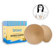 Bravo nude, foam, Double Shaper bra pad insert shown with product box and illustrated bra pad use