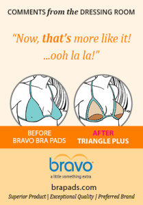 Bravo bra pad illustration showing before and after triangle plus illustrated link image