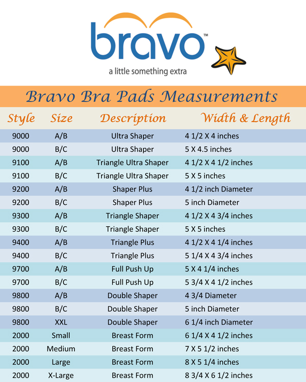 bra pad measurement chart